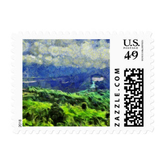 Flying saucers in the sky postage