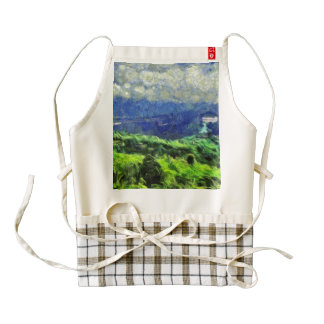 Flying saucers in the sky zazzle HEART apron