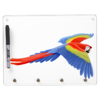 Flying Scarlet Macaw Parrot Dry Erase Board