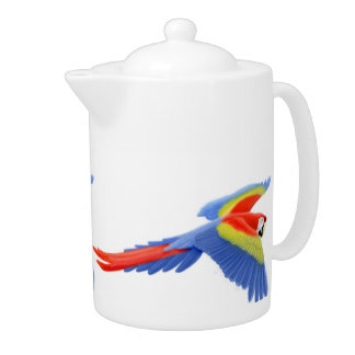 Flying Scarlet Macaw Parrot Teapot