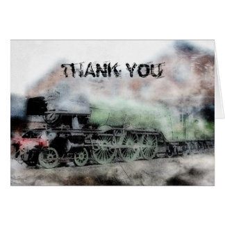 Flying Scotsman Vintage Steam Train Thank You Card