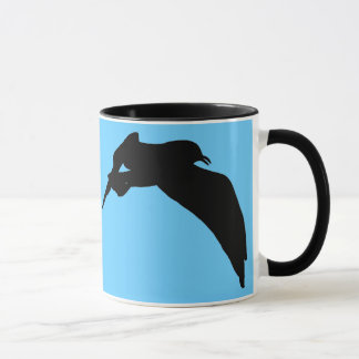 Flying Sea Gull Black Silhouette Customizable Mugs