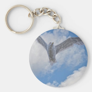 Flying Sea Gull & Clouds Basic Round Button Keychain