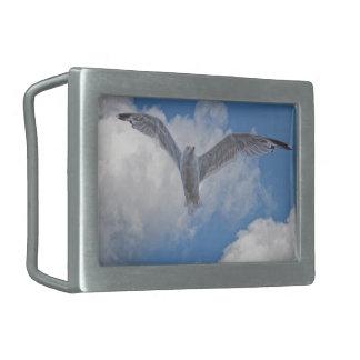 Flying Sea Gull & Clouds Belt Buckle