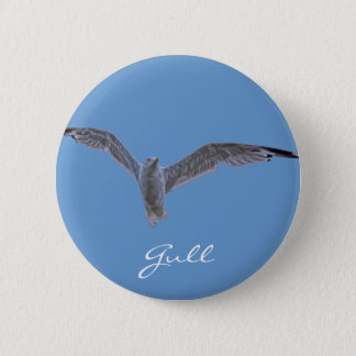 Flying Sea Gull & Clouds Button