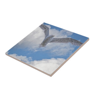 Flying Sea Gull & Clouds Ceramic Tile