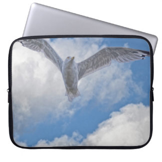 Flying Sea Gull & Clouds Computer Sleeve