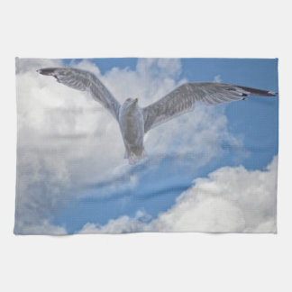 Flying Sea Gull & Clouds Hand Towel