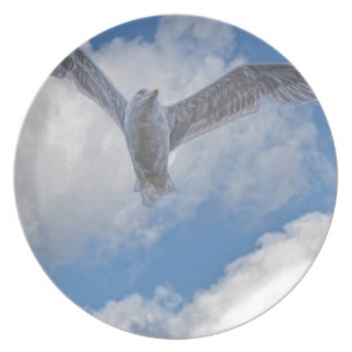 Flying Sea Gull & Clouds Plate