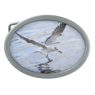 Flying seagull over water Belt Buckle