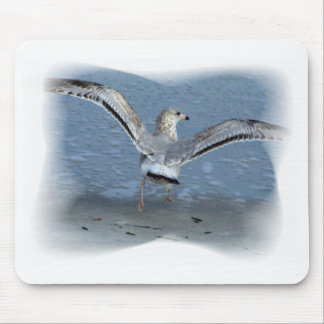 Flying seagull posterized mouse pad