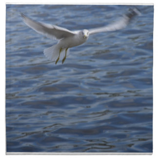 Flying seagull wanting to get attention cloth napkin