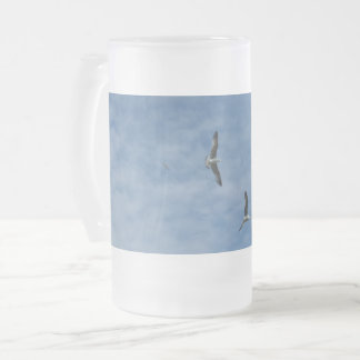 Flying Seagulls Frosted 16 oz Frosted Glass Mug