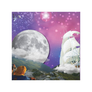 Flying Ship Poster Canvas Print