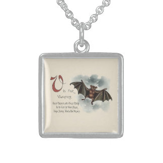 Flying Silly Goofy Vampire Bat Sterling Silver Necklace