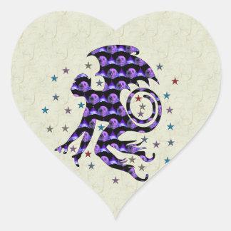Flying Skull Monkey Heart Sticker