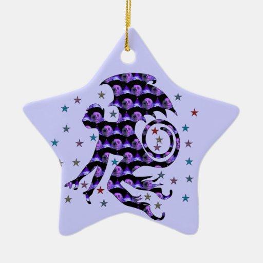 Flying Skull Monkey Double-Sided Star Ceramic Christmas Ornament