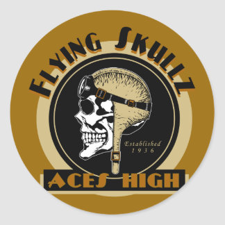 Flying Skullz Aces High Airborne Paratrooper Skull Classic Round Sticker