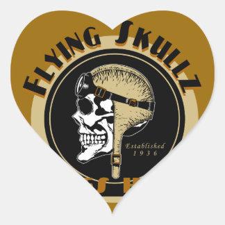 Flying Skullz Aces High Airborne Paratrooper Skull Heart Sticker