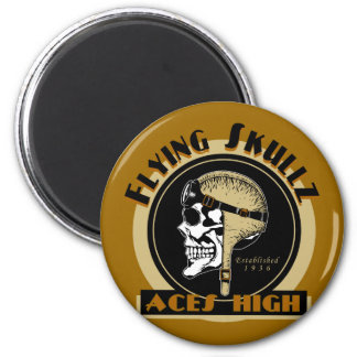 Flying Skullz Aces High Airborne Paratrooper Skull Magnet