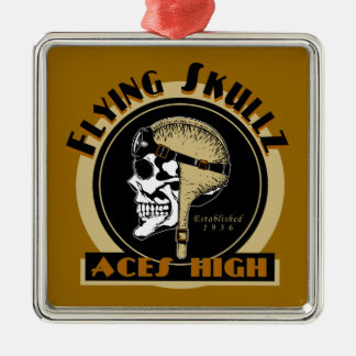 Flying Skullz Aces High Airborne Paratrooper Skull Metal Ornament