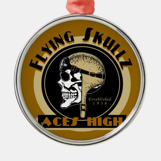 Flying Skullz Aces High Airborne Paratrooper Skull Christmas Ornament