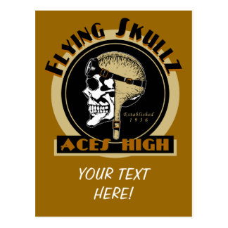 Flying Skullz Aces High Airborne Paratrooper Skull Postcard