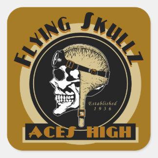 Flying Skullz Aces High Airborne Paratrooper Skull Square Sticker