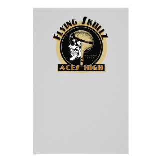 Flying Skullz Aces High Airborne Paratrooper Skull Customized Stationery