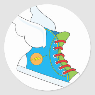 Flying Sneaker Classic Round Sticker