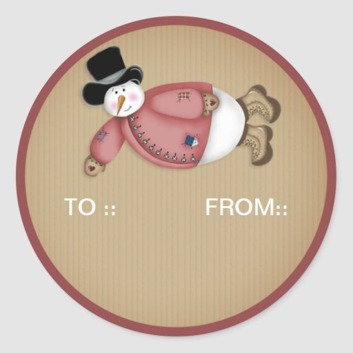 Flying Snowman 15  - Holiday Gift Tags/Stickers Classic Round Sticker