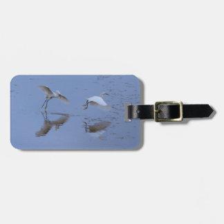 Flying Snowy Egret Birds Luggage Tag