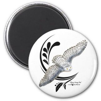 Flying Snowy Owl 2 Inch Round Magnet