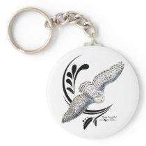 Flying Snowy Owl Keychain