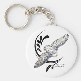 Flying Snowy Owl Keychain