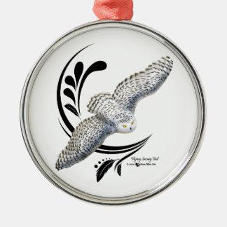 Flying Snowy Owl Metal Ornament