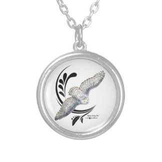 Flying Snowy Owl Silver Plated Necklace