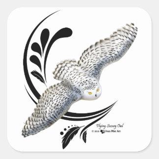 Flying Snowy Owl Square Sticker