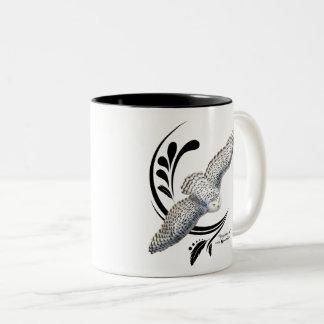 Flying Snowy Owl Two-Tone Coffee Mug