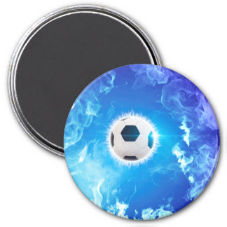 Flying soccer surrounded by white, blue fire magnets