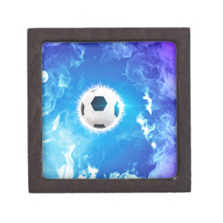 Flying soccer surrounded by white, blue fire premium jewelry box
