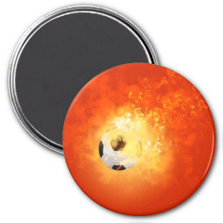 Flying soccer with flames magnets
