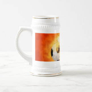 Flying soccer with flames 18 oz beer stein