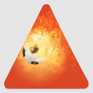 Flying soccer with flames triangle sticker