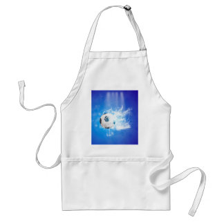 Flying soccer with water splashes adult apron