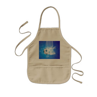 Flying soccer with water splashes apron