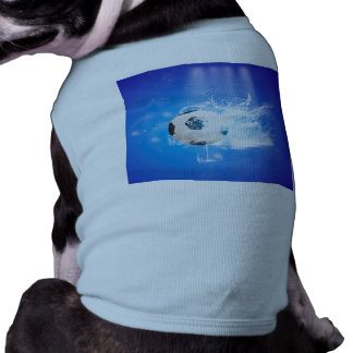 Flying soccer with water splashes pet tee shirt