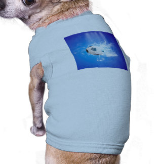 Flying soccer with water splashes doggie t-shirt