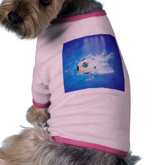 Flying soccer with water splashes pet tee