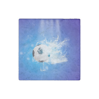 Flying soccer with water splashes stone magnet